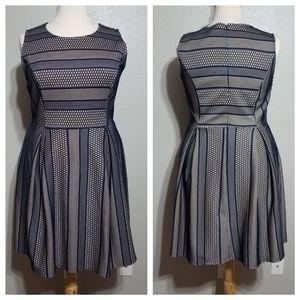 MONTEAU Navy Lace Box-Pleat Skater Dress 2X